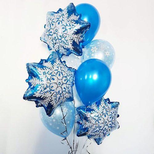 Связка из шаров Ассорти Снежинки и Синие шары