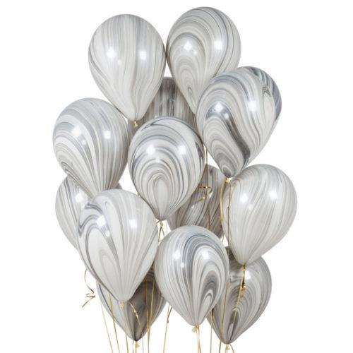 Связка из шаров Мрамор Черный и Белый