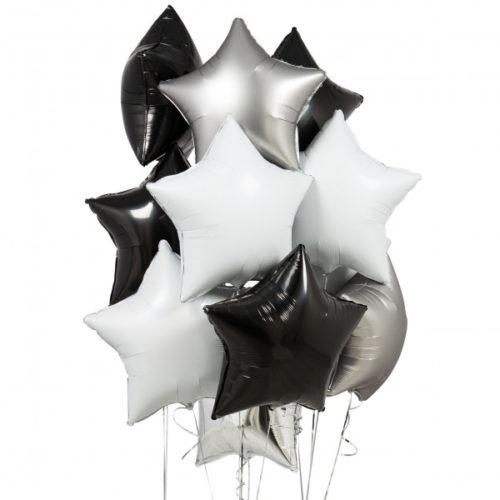 Связка из 10 шаров Звезды Ассорти Черно-Белый и Серебро Хром