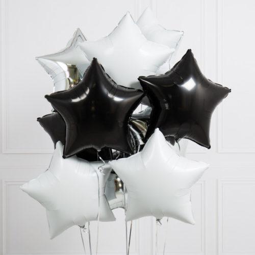 Связка из 10 шаров Звезды Ассорти Черно-Белый и Серебро