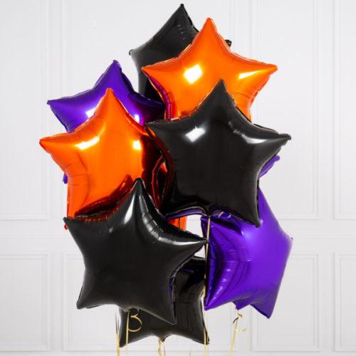 Связка из 10 шаров Сердца Ассорти Черный Оранжевый и Фиолетовый