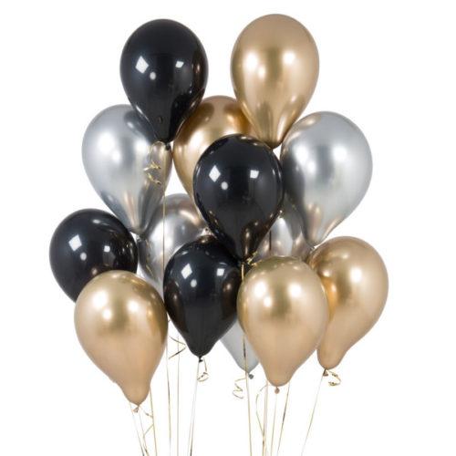 Связка из 15 шаров с гелием Ассорти цвета Черный Серебро и Золото Хром