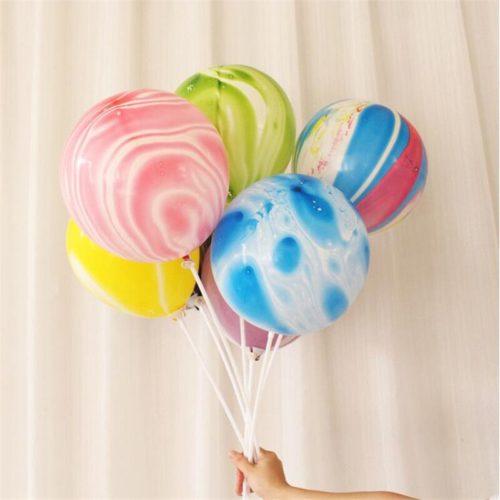 Связка из 5 шаров Мрамор Разноцветный на палочке с воздухом