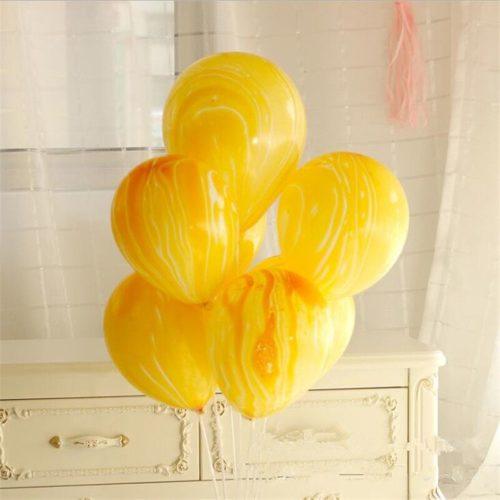 Связка из 7 шаров Мрамор Желтый