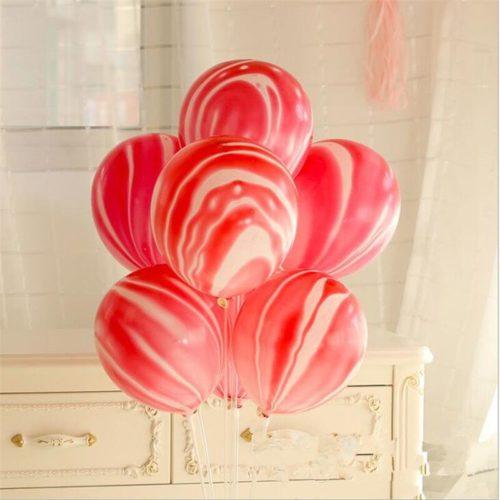 Связка из 7 шаров Мрамор Розовый