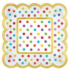 Тарелка для угощений 13,9 см квадрат Горошек 36 штук