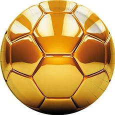 Тарелка 23 см Футбол золотой 8 штук