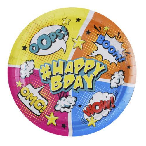 Тарелки 23 см Комиксы #HappyBday 6 штук