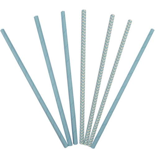 Трубочки бумажные ассорти Light Blue 12 штук