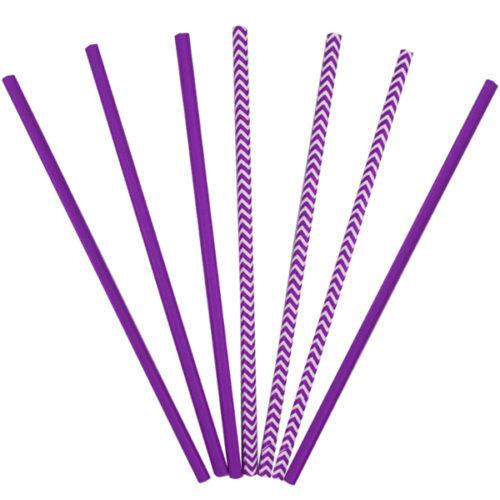 Трубочки бумажные ассорти Purple 12 штук
