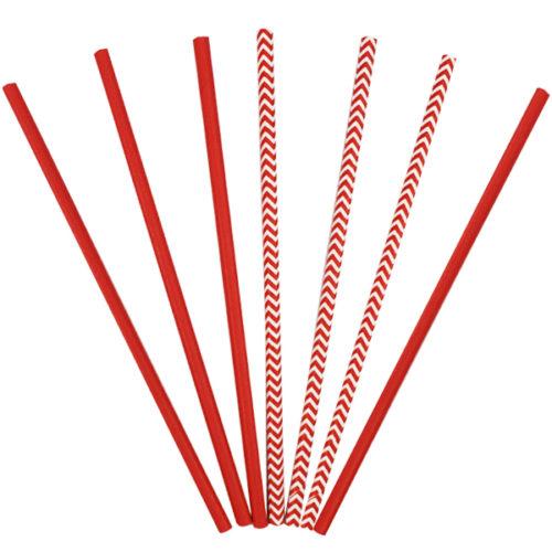 Трубочки бумажные ассорти Red 12 штук