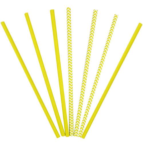 Трубочки бумажные ассорти Yellow 12 штук