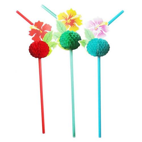 Трубочки для коктейля Цветы Гавайи 8 штук