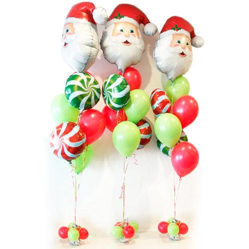 Фонтан из шаров Санта 3 комплекта
