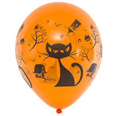 Шар 25 см Кошка Черная Оранжевый Пастель