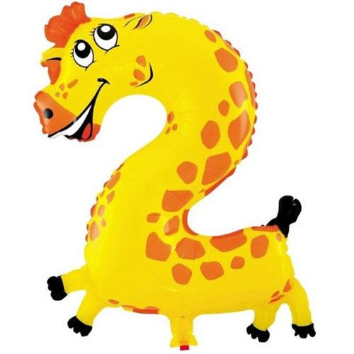 Шар 41 см Цифра Мини 2 Жираф