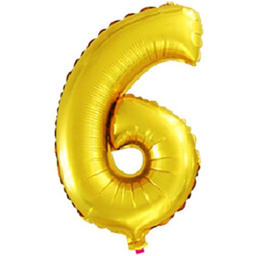 Шар 41 см Цифра Мини 6 Золото