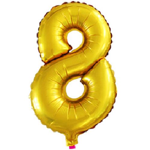 Шар 41 см Цифра Мини 8 Золото