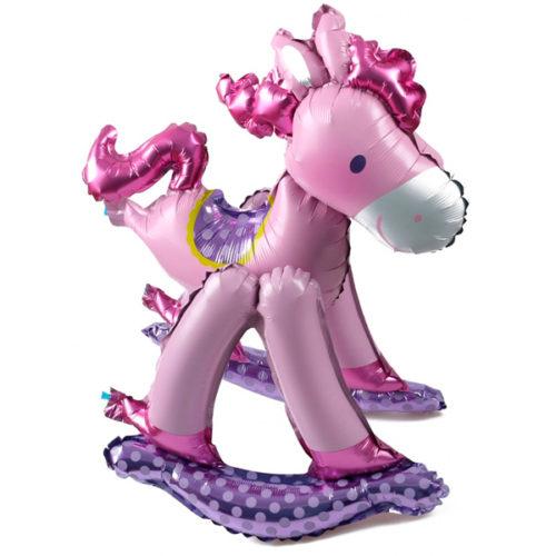 Шар 43 см Мини-фигура Лошадка качалка Розовый