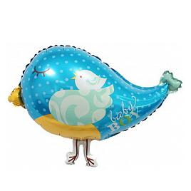 Шар 46 см Мини-фигура Птичка с птенцом Голубой