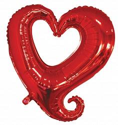Шар 46 см Мини-фигура Цепь сердец Красный
