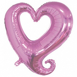 Шар 46 см Мини-фигура Цепь сердец Розовый
