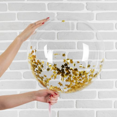 Шар 46 см Сфера 3D Deco Bubble с конфетти Звезды Золотые