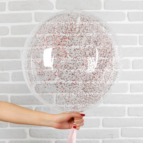 Шар 46 см Сфера 3D Deco Bubble с конфетти Мини Красный