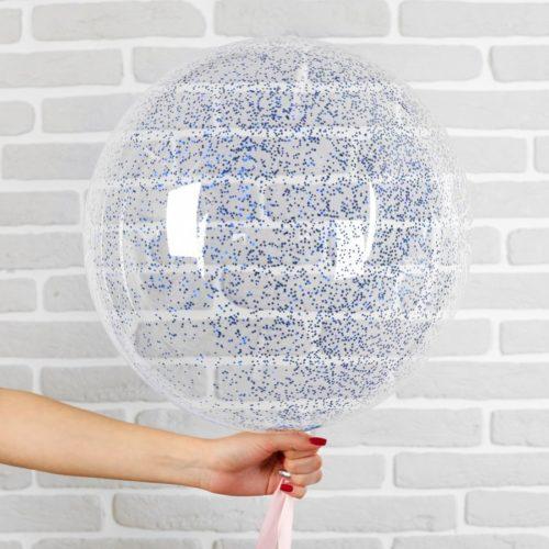 Шар 46 см Сфера 3D Deco Bubble с конфетти Мини Синий
