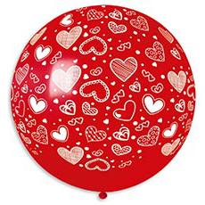 Шар 60 см Сердечки Красный Пастель