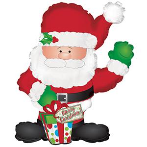 Шар 81 см Фигура Санта с подарком