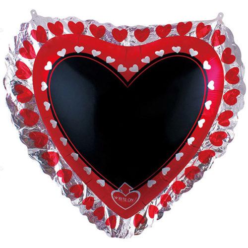 Шар 84 см Фигура Для надписей сердце с маркером