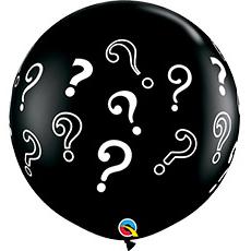 Шар 90 см Знак вопроса Onyx Black Черный Пастель