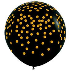 Шар 90 см Золотое конфетти Черный пастель