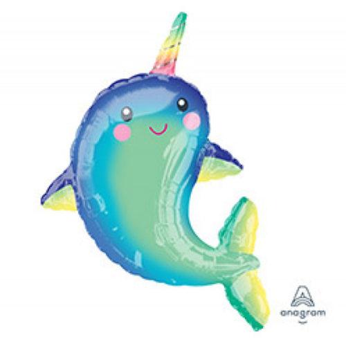 Шар 99 см Фигура Дельфин с радужным рогом