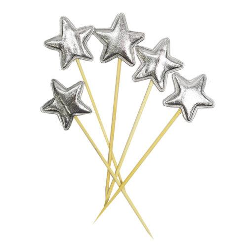 Шпажки для канапе капкейков Звезда серебряная 11,5 см 5 штук