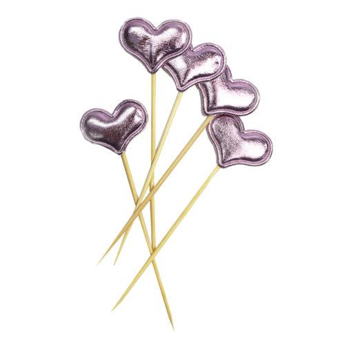 Шпажки для канапе капкейков Сердце розовое 11,5 см 5 штук