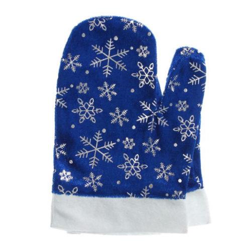 Варежки Деда Мороза со снежинками синие 14 х 23 см 2 штуки