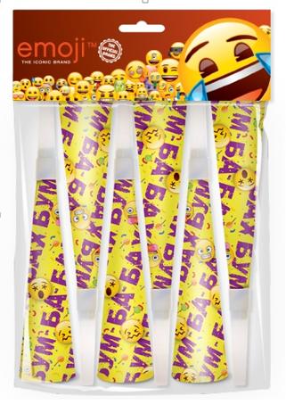 Горны Смайл Emoji Желтый 20 см 6 штук