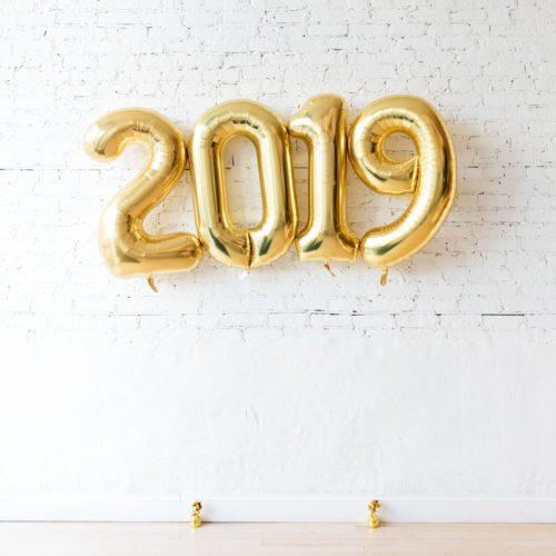 Комплект шаров цифр 2019 Золото летающий