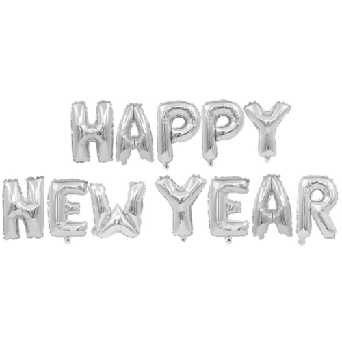 Набор шаров-букв 41 см Надпись Happy New Year Серебро в упаковке