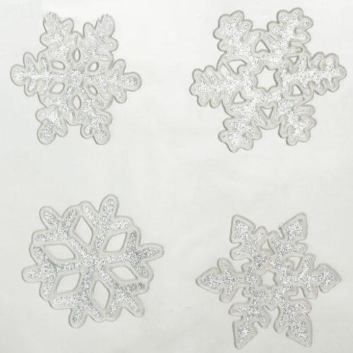 Наклейка на стекло Снежинка блестящая 6,5 х 7 см 4 штук