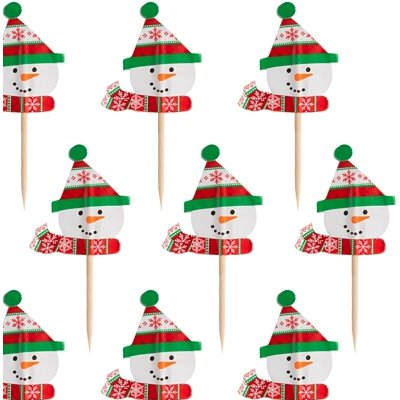 Пики для канапе Снеговик веселый дерево 36 штук
