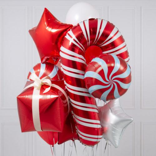 Связка из воздушных шаров Подарки Новогодний Микс