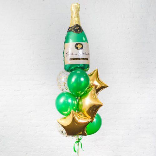 Связка из воздушных шаров Шампанское и Звезды Золото
