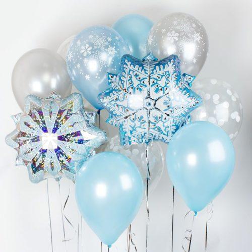 Связка из шаров Ассорти Голубой и Серебро Снежинки