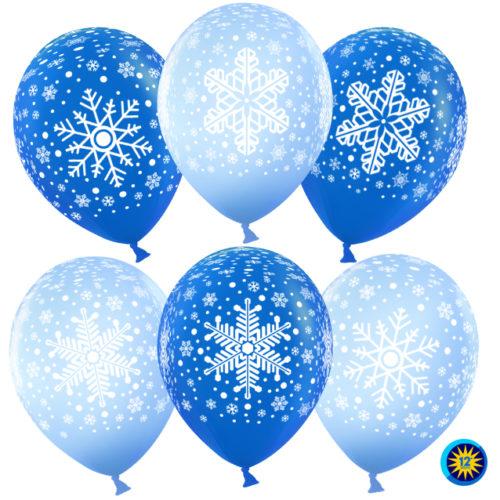 Шар 30 см Снежинки Голубой Синий Пастель