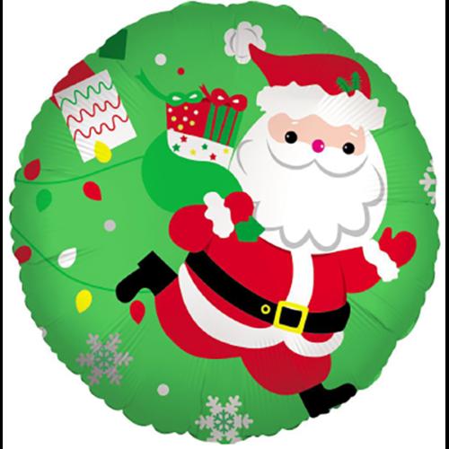 Шар 46 см Круг Дед Мороз с подарками Зеленый