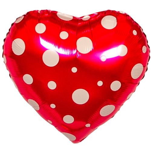 Шар 46 см Сердце Белые точки Розовый