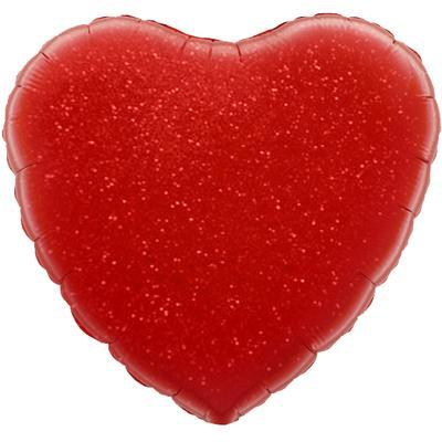 Шар 46 см Сердце Красный Голография